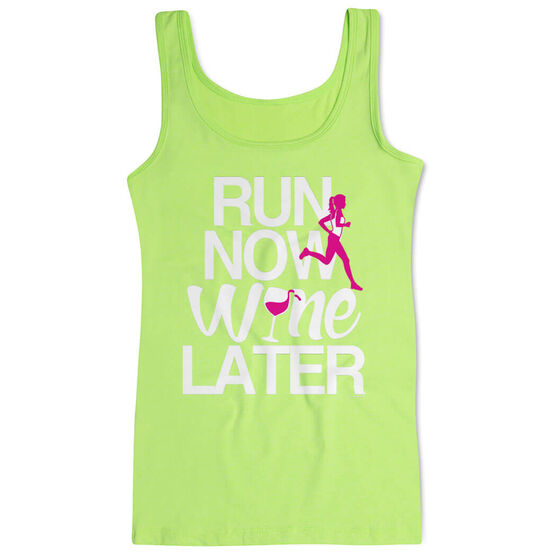 Women's Athletic Tank Top Run Now Wine Later (Bold)
