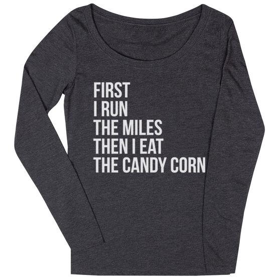 Women's Runner Scoop Neck Long Sleeve Tee - Then I Eat The Candy Corn