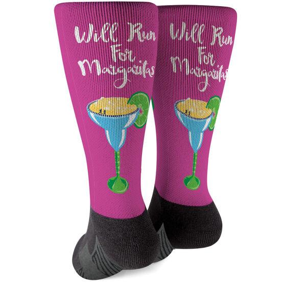 Running Printed Mid-Calf Socks - Will Run For Margaritas