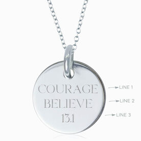 Sterling Silver Custom Engraved 20mm Pendant Necklace