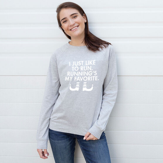 Running Raglan Crew Neck Sweatshirt - Running's My Favorite (Simple)