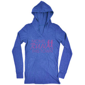 Women's Running Lightweight Performance Hoodie - Moms Run This Town Logo (Pink)