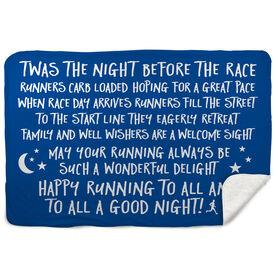 Running Sherpa Fleece Blanket - Twas The Night Before The Race (Simple)