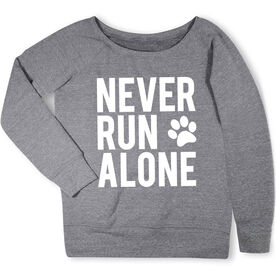 Running Fleece Wide Neck Sweatshirt - Never Run Alone (Bold)