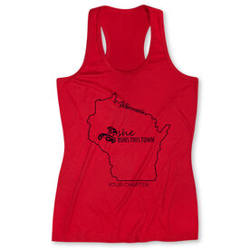 Women's Performance Tank Top - She Runs This Town Wisconsin Runner