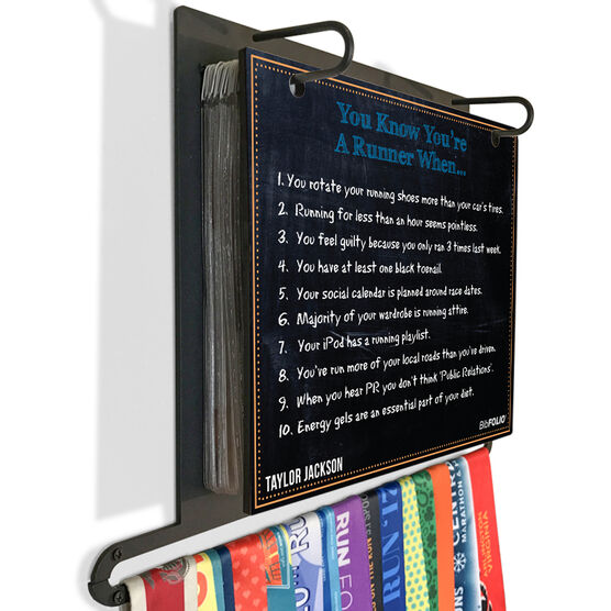 BibFOLIO+™ Race Bib and Medal Display Chalkboard You Know You're A Runner When