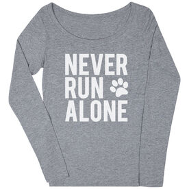 Women's Runner Scoop Neck Long Sleeve Tee- Never Run Alone (Bold)