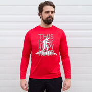 Men's Hiking Long Sleeve Performance Tee - This Is My Happy Hour Hiker