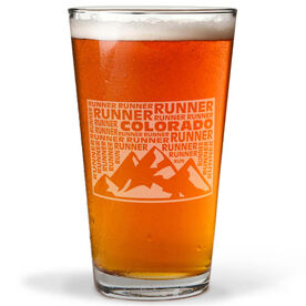16 oz Beer Pint Glass Colorado State Runner