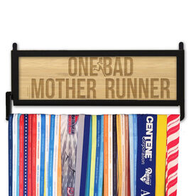 RunnersWALL Engraved Bamboo Medal Display One Bad Mother Runner