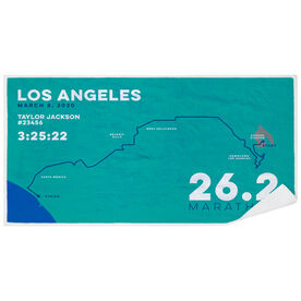 Running Premium Beach Towel - Personalized Los Angeles Map