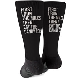 Running Printed Mid-Calf Socks - Then I Eat The Candy Corn