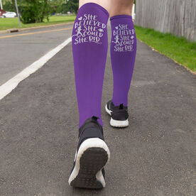 Running Printed Knee-High Socks - She Believed She Could So She Did