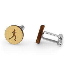 Running Engraved Wood Cufflinks Runner Silhouette