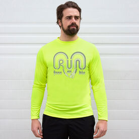 Men's Running Long Sleeve Tech Tee - Run Free Or Die Snake
