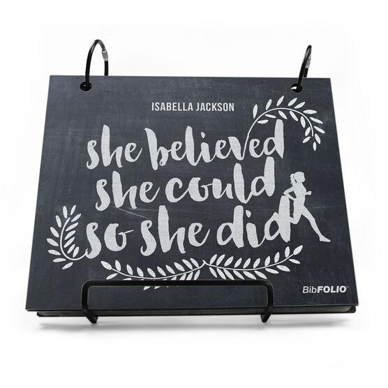 BibFOLIO® Race Bib Album - She Believed She Could So She Did Chalkboard
