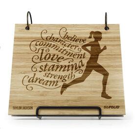 Engraved Bamboo Wood BibFOLIO Believe Running Girl