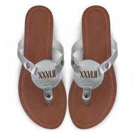 Running Engraved Thong Sandal - Roman Numeral 26.2