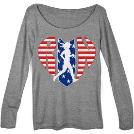 Women's Runner Scoop Neck Long Sleeve Tee - Patriotic Heart