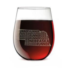 Stemless Wine Glass Nebraska State Runner