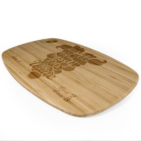Rectangle Laser Engraved Bamboo Cutting Board Will Run For Wine (Grapes)
