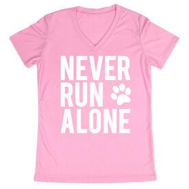 Women's Running Short Sleeve Tech Tee - Never Run Alone (Bold)