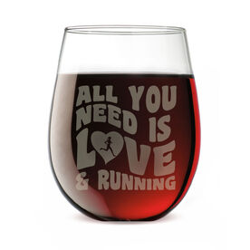 Running Stemless Wine Glass All You Need Is Love And Running