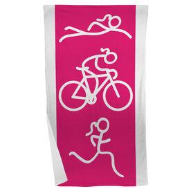 Triathlon Beach Towel Swim Bike Run Girl Figure