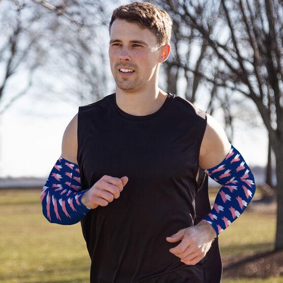 Running Printed Arm Sleeves - Flying Pigs Pattern