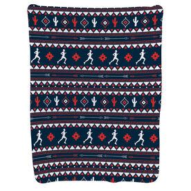 Running Baby Blanket - Running Guy Tribal Pattern