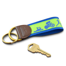 Swim Bike Run Triathletes Key Fob (Lime/Blue)