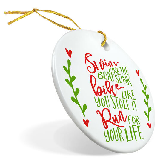 Triathlon Porcelain Ornament Swim Bike Run Quote