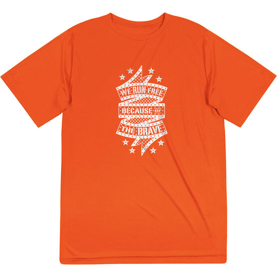 Men's Running Short Sleeve Tech Tee - We Run Free Because Of The Brave