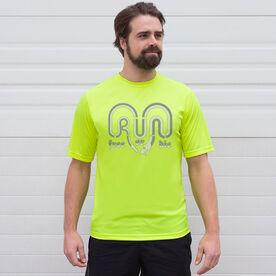 Men's Running Short Sleeve Tech Tee - Run Free Or Die Snake