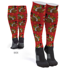 Running Printed Knee-High Socks - Running Turkey