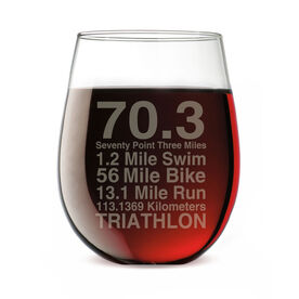 Triathlon Stemless Wine Glass 70.3 Math Miles