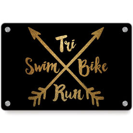 Triathlon Metal Wall Art Panel - Crossed Arrows