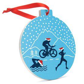 Triathlon Round Ceramic Ornament - Silhouettes with Santa Hat