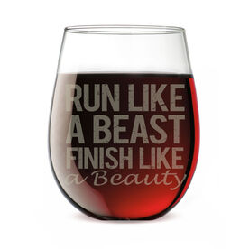 Running Stemless Wine Glass Run Like a Beast Finish Like a Beauty