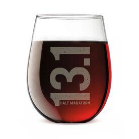 Running Stemless Wine Glass 13.1 Marathon Vertical