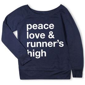 Running Fleece Wide Neck Sweatshirt - Peace Love & Runner's High