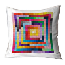 Running Throw Pillow - Squares Colorful