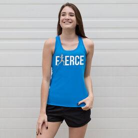 Women's Performance Tank Top Fierce Runner Girl with Silver Glitter