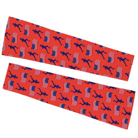 Running Printed Arm Sleeves - Male Runner And Usa Flag Pattern