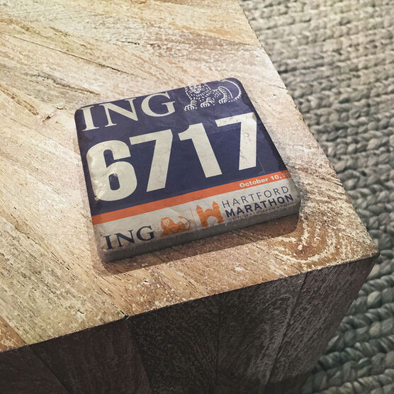 Running Stone Coaster - Your Race Bib on Your Coaster BibCOASTER