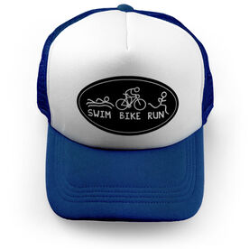Triathlon Trucker Hat Swim Bike Run Figures
