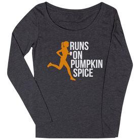 Women's Runner Scoop Neck Long Sleeve Tee - Runs On Pumpkin Spice