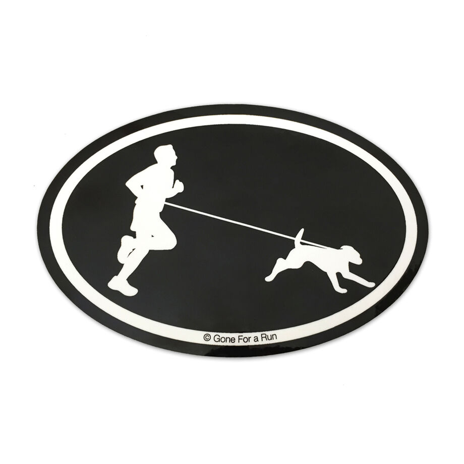 Runner Guy with Dog Decal (Black/White)
