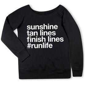 Running Fleece Wide Neck Sweatshirt - Sunshine Tan Lines Finish Lines
