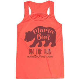 Flowy Racerback Tank Top - Moms Run This Town Mama Bear On The Run